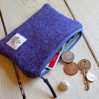 Harris Tweed large coin purse in lavender purple