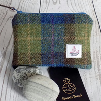 Harris Tweed large coin purse.  Tartan weave in moss green, blue and brown