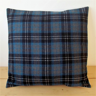 Cushion cover. Tartan plaid in blue, grey, black and white