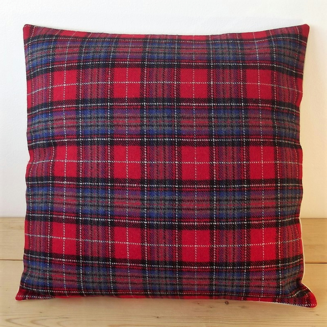 Cushion cover. Tartan plaid in red, blue, grey, black and white