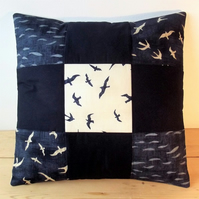 Quilted cushion cover with seagulls and fishes - indigo