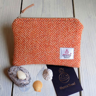Harris Tweed large coin purse in Orange and beige herringbone weave