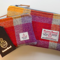 Harris Tweed gift set. Clutch and coin purse in multicoloured check