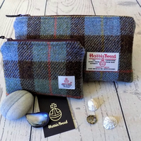 Harris Tweed gift set. Clutch and coin purse in Macleod clan tartan