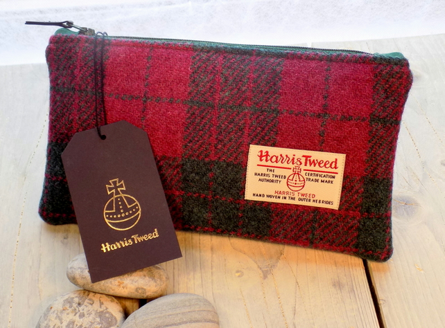 Harris Tweed clutch purse, pencil case in cranberry red and forest green tartan