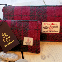 Harris Tweed gift set. Clutch and coin purse in cranberry red and forest green