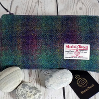 Harris Tweed clutch purse, pencil case in deep purple and green tartan
