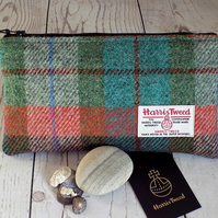 Harris Tweed clutch purse, pencil case in turquoise, green, burgundy and rust