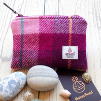 Harris Tweed large coin purse. Tartan weave in pink and plum purple