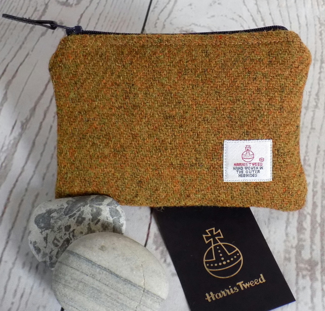 Harris Tweed large coin purse in mustard yellow, with navy blue zip and lining