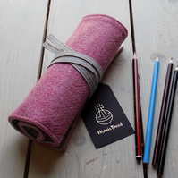 Harris Tweed pencils roll in strawberry ice pink. Includes pencils