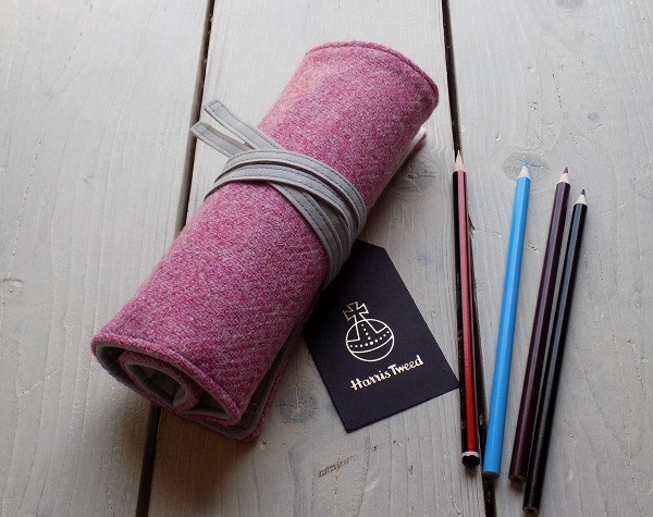 Harris Tweed pencils roll in strawberry ice pink. Pencils not included