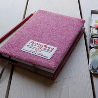 Harris Tweed covered A6 sketchbook in strawberry ice pink