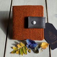 Harris Tweed bifold wallet in burnt orange