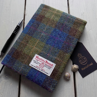 A5 Harris Tweed covered 2019 diary in blue, green and brown tartan. Week to view