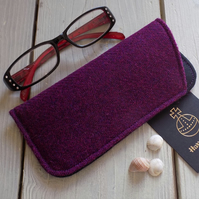 Harris Tweed eyeglasses case in deep violet purple
