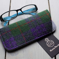 Harris Tweed eyeglasses case in purple and green tartan