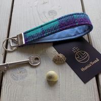 Harris Tweed key fob wrist strap in purple and aqua check
