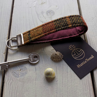 Harris Tweed key fob wrist strap in mustard, green and rust tartan