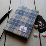 A6 Harris Tweed covered 2019 diary in denim blue and beige check. Week to view