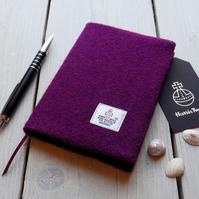 A6 Harris Tweed covered 2019 diary in deep violet purple. Week to view