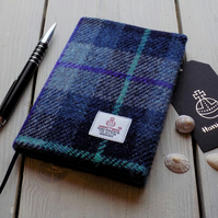 A6 Harris Tweed covered 2019 diary in shades of blue. Week to view