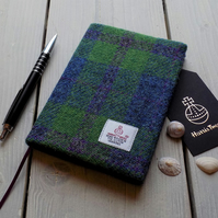 A6 Harris Tweed covered 2019 diary in pea green check. Week to view
