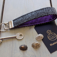 Harris Tweed key fob wrist strap in grey speckle with deep purple lining