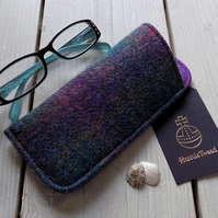 Harris Tweed eyeglasses case in deep purple and green