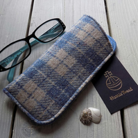 Harris Tweed eyeglasses case in denim blue and beige check
