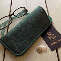 Harris Tweed eyeglasses case in blueish green