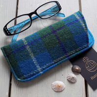 Harris Tweed eyeglasses case in turquoise and green tartan