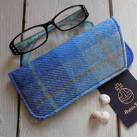 Harris Tweed eyeglasses case in light and mid blue tartan