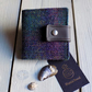 Harris Tweed bifold wallet in deep purple and dark green shadow check