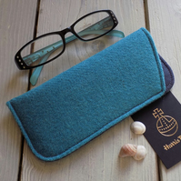 Harris Tweed eyeglasses case in light teal