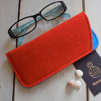 Harris Tweed eyeglasses case in tangerine orange