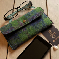 Harris Tweed phone pouch or glasses case in pea green, blue and violet