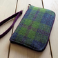 Harris Tweed zip around wallet in pea green, blue and violet