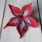 Felted flower brooch: merino wool and silk in wine red and light teal