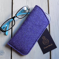 Harris Tweed eyeglasses case in lavender purple