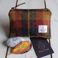 Harris Tweed large coin purse in dark green, mustard and rust