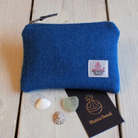 Harris Tweed large coin purse in deep turquoise