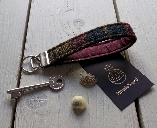 Harris Tweed key fob wrist strap in dark green, mustard and rust