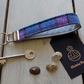 Harris Tweed key fob wrist strap in turquoise, lilac and dark grey