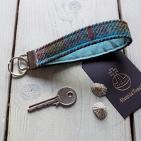 Harris Tweed key fob wrist strap in turquoise, burgundy and green tartan
