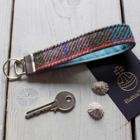 Harris Tweed key fob wrist strap in turquoise, burgundy, orange and green tartan