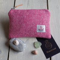 Harris Tweed large coin purse in strawberry ice pink