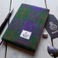 A6 Harris Tweed covered 2020 diary in green, purple and orange tartan.
