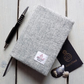 A6 Harris Tweed covered 2020 diary in light grey and oatmeal. Week to view