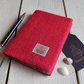 A6 Harris Tweed covered 2020 diary in orange and fuschia pink herringbone
